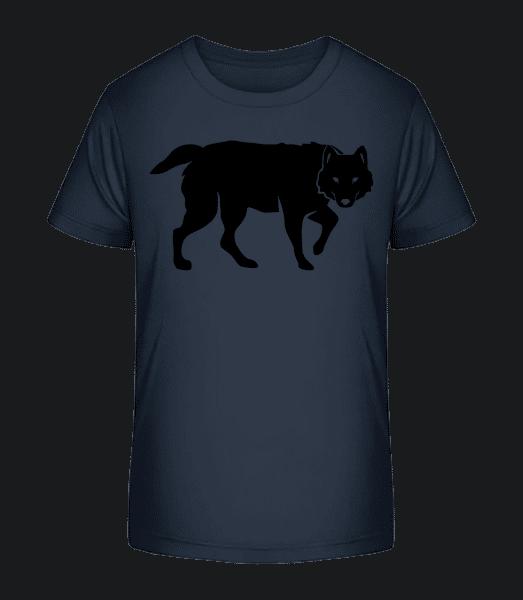 Wolf Schatten - Kinder Premium Bio T-Shirt - Marine - Vorn