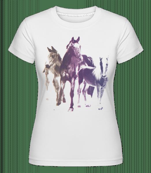 Polaroid Pferde - Shirtinator Frauen T-Shirt - Weiß - Vorn