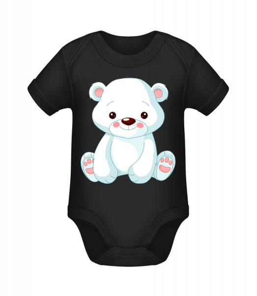 Süßer Eisbär - Baby Bio Strampler - Schwarz - Vorn