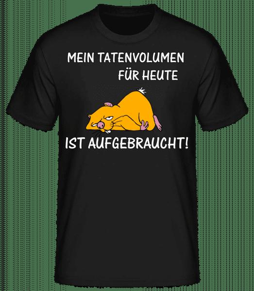 Tatenvolumen Aufgebraucht - Männer Basic T-Shirt - Schwarz - Vorn