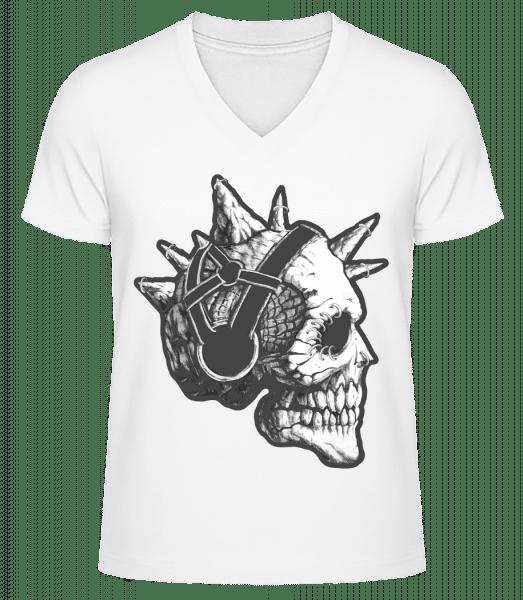 Punk Skull - Men's V-Neck Organic T-Shirt - White - Vorn