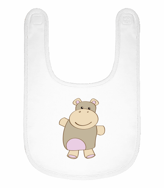 Baby Comic - Hippo - Baby Bib - White - Front