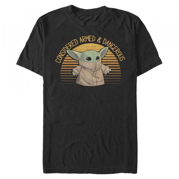 Sunset Cute Yoda The Child - Star Wars Mandalorian - Men's T-Shirt - Black - Front