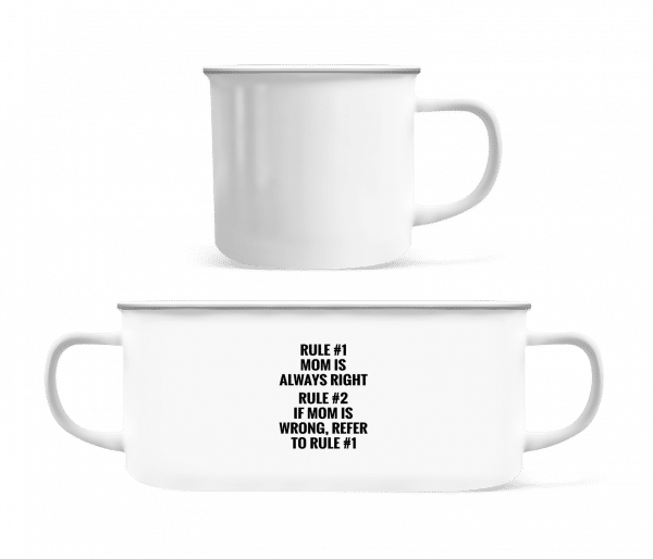 Mom Is Always Right - Enamel-cup - White - Vorn