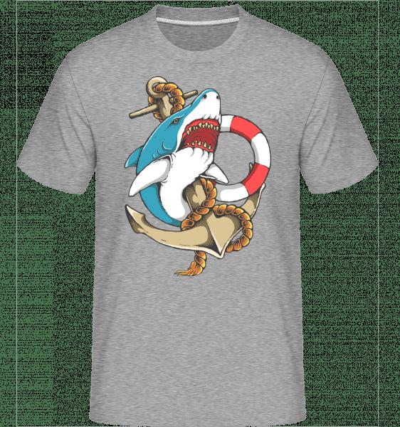 Shark and Anchor -  Shirtinator Men's T-Shirt - Heather grey - Front