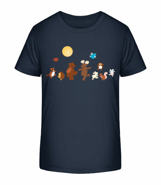 Baby Animal Party - Kid's Premium Bio T-Shirt - Navy - Vorn