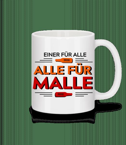 Einer Für Alle Alle Für Malle - Tasse - Weiß - Vorn