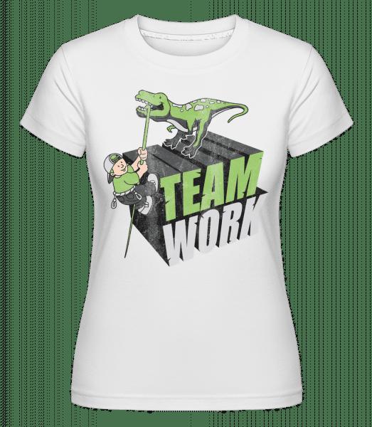 Dinosaur Teamwork -  Shirtinator Women's T-Shirt - White - Vorn