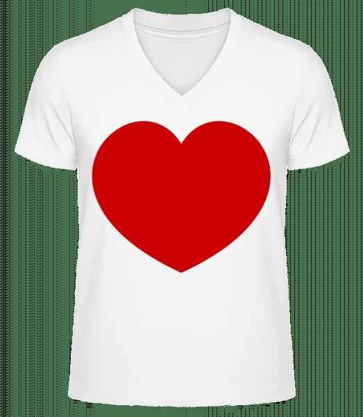Heart - Men's V-Neck Organic T-Shirt - White - Vorn