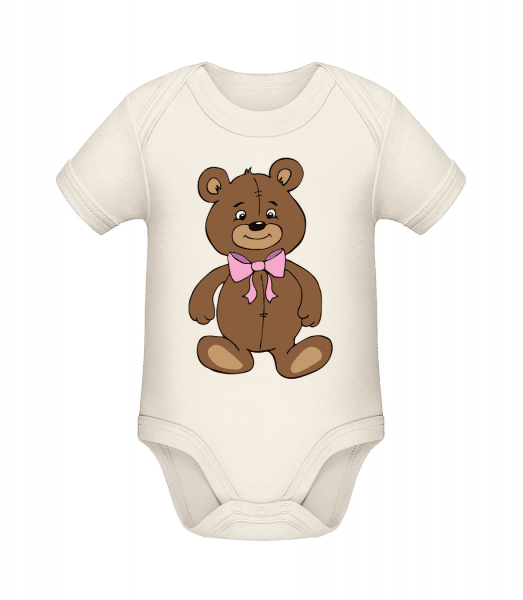 Teddy Bear With Bow - Organic Baby Body - Cream - Vorn