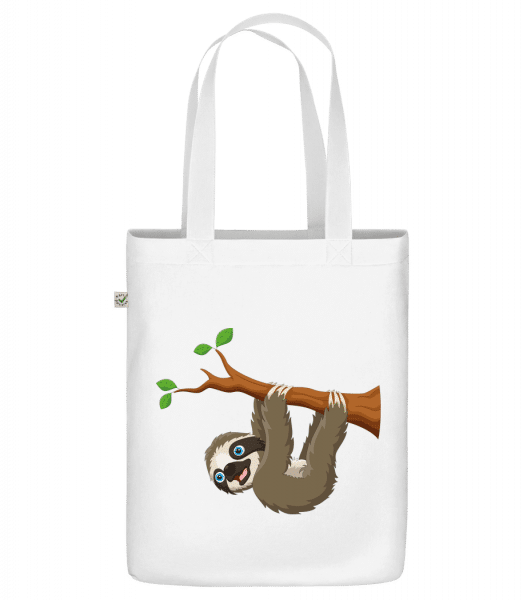 "Cute Sloth Hanging On A Branch - Organic ""Earth Positive"" tote bag - White - Vorn"