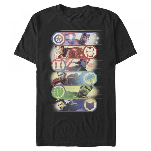 Avengers Group Badge Group Shot - Marvel Avengers Endgame - Men's T-Shirt - Black - Front
