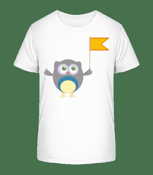 Cute Owl With Flag - Kid's Premium Bio T-Shirt - White - Vorn