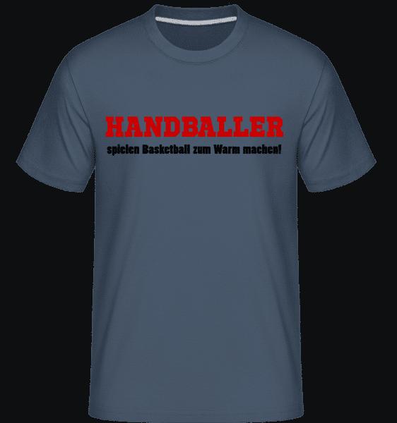 Handballer Spielen Basketball Zu - Shirtinator Männer T-Shirt - Denim - Vorn
