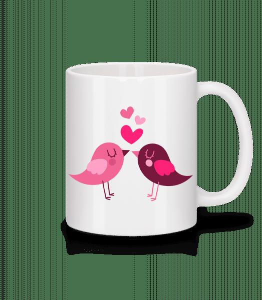 vtáky Láska - Keramický hrnček - Biela - Predné