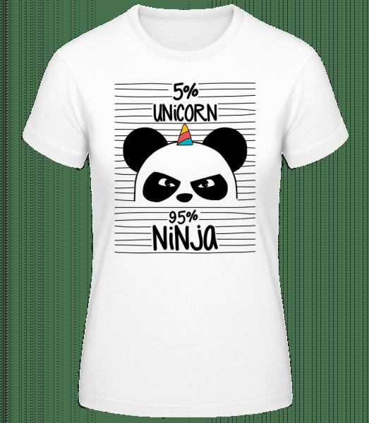 5% Unicorn 95% Ninja - Basic T-Shirt - White - Vorn