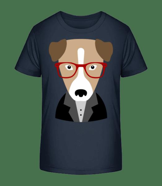 Hipster Hund Mit Schlappohren - Kinder Premium Bio T-Shirt - Marine - Vorn