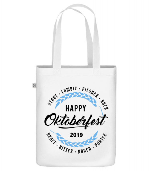 "Happy Oktoberfest - Organic ""Earth Positive"" tote bag - White - Front"