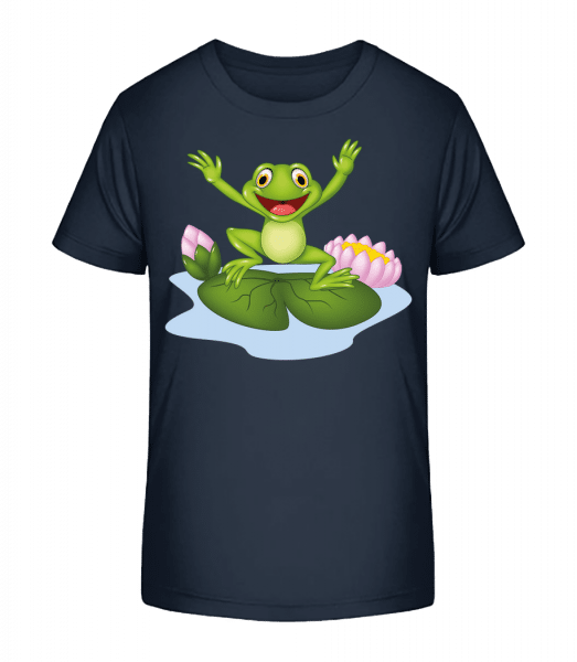 Frog On Water Lily - Kid's Premium Bio T-Shirt - Navy - Vorn