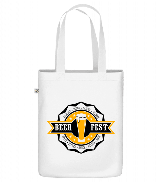 """Beer Fest - Organic """"Earth Positive"""" tote bag - White - Front"""