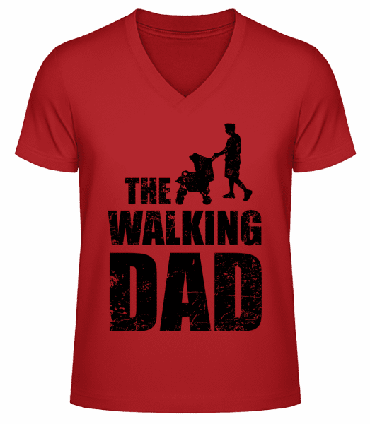 The Walking Dad - Men's V-Neck Organic T-Shirt - Red - Vorn