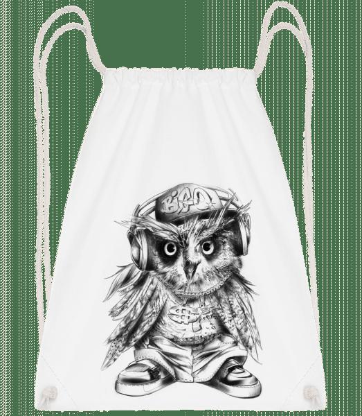 Hip Hop Owl - Drawstring batoh se šňůrkami - Bílá - Napřed