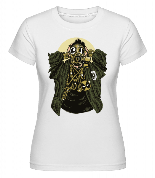 Gasmask Gangsta -  Shirtinator Women's T-Shirt - White - Vorn