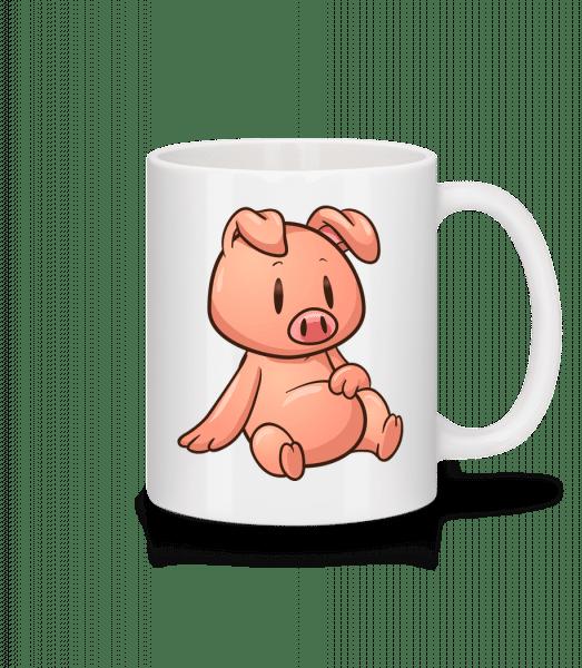 Schweinchen Sitzend Comic - Tasse - Weiß - Vorn