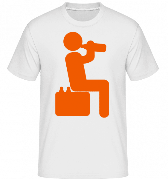 Beer Drinker Orange -  Shirtinator Men's T-Shirt - White - Vorn