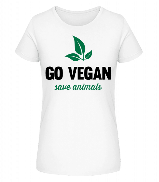 Go Vegan Save Animals - Women's Premium Organic T-Shirt Stanley Stella - White - Vorn
