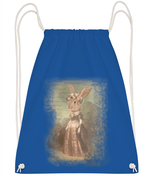 Painting Bunny - Drawstring Backpack - Royal blue - Vorn