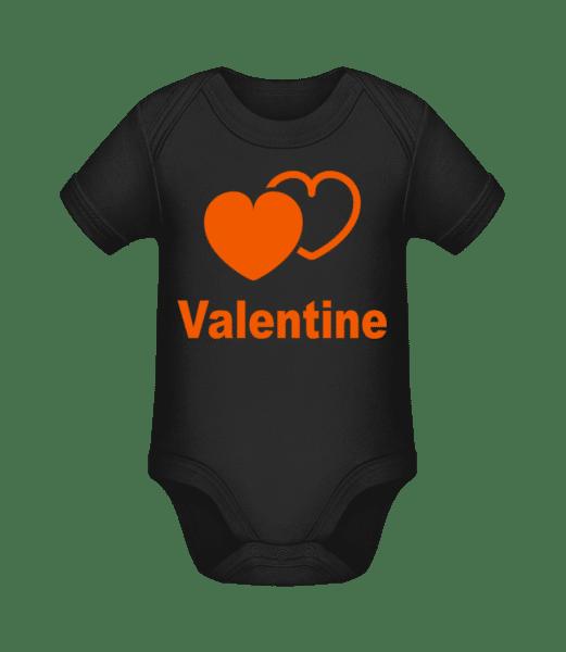 Valentine Heart - Organic Baby Body - Black - Vorn