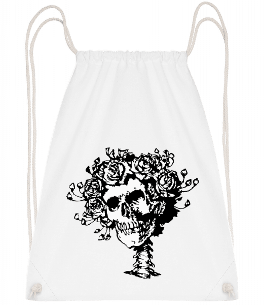 Skull Comic - Drawstring Backpack - White - Vorn