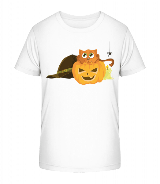 Halloween Pumpkin Cat - Kid's Premium Bio T-Shirt - White - Front