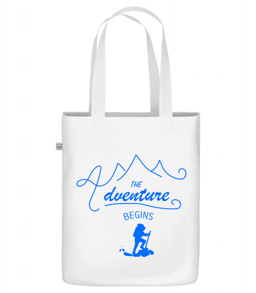 """The Adventure Begins - Organic """"Earth Positive"""" tote bag - White - Front"""