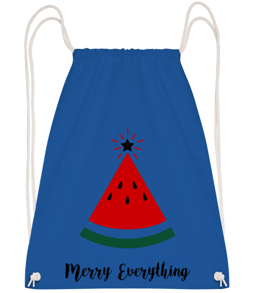 Merry Everything Christmas - Drawstring Backpack - Royal Blue - Vorn