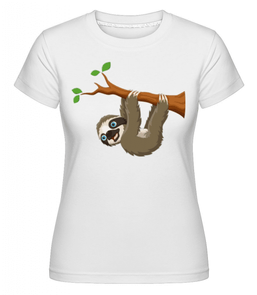 Cute Sloth Hanging On A Branch -  Shirtinator Women's T-Shirt - White - Front