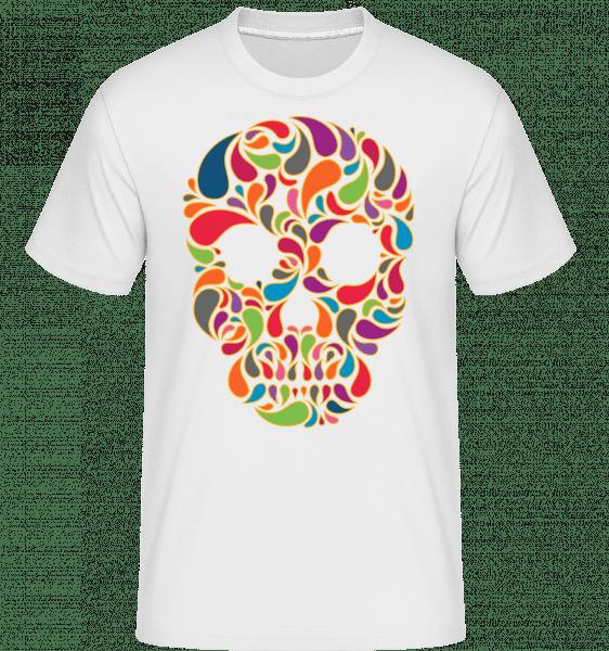 barevné Skull -  Shirtinator tričko pro pány - Bílá - Napřed