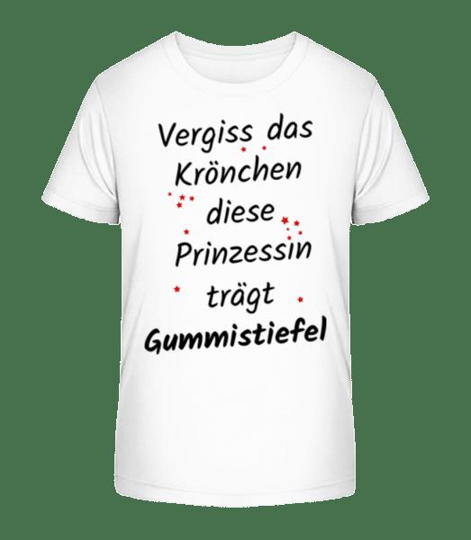 Prinzessin Trägt Gummistiefel - Kinder Premium Bio T-Shirt - Weiß - Vorn