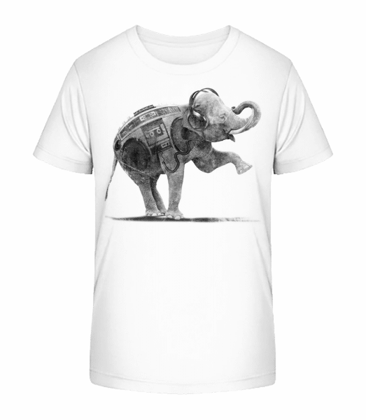Ghettoblaster Elephant - Kid's Premium Bio T-Shirt - White - Vorn