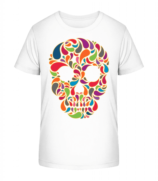 Colorful Skull - Kinder Premium Bio T-Shirt - Weiß - Vorn