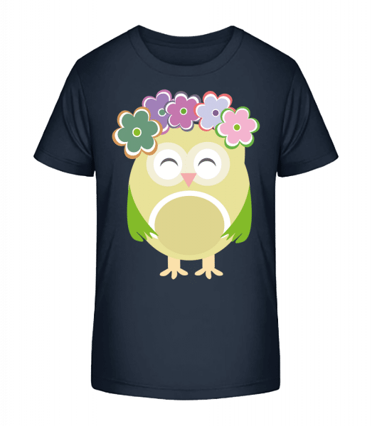 Cute Owl With Flowers - Kid's Premium Bio T-Shirt - Navy - Front