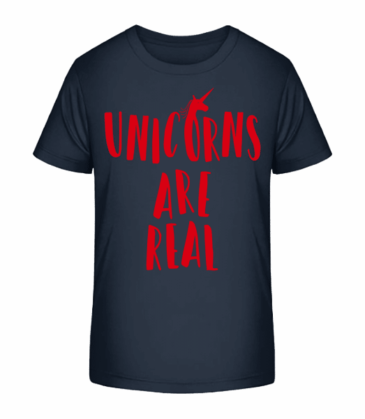 Unicorns Are Real - Kid's Premium Bio T-Shirt - Navy - Front