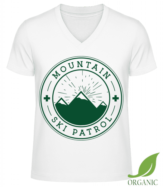 "Ski Patrol Icon - ""James"" Organic V-Neck T-Shirt - White - Vorn"