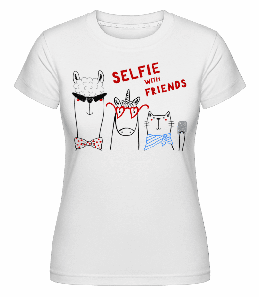 Selfie With Friends -  Shirtinator Women's T-Shirt - White - Vorn