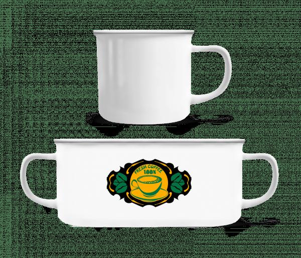 Fresh Coffee Logo - Emaille hrnek - Bílá - Napřed