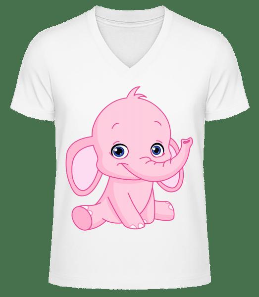 Elefant Comic - Männer Bio T-Shirt V-Ausschnitt - Weiß - Vorn