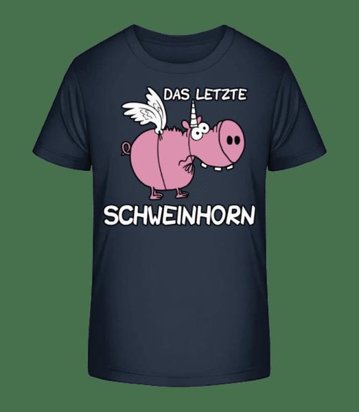 Das Letzte Schweinhorn - Kinder Premium Bio T-Shirt - Marine - Vorn