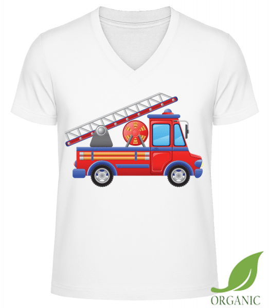 "Fire Truck Kids - ""James"" Organic V-Neck T-Shirt - White - Vorn"