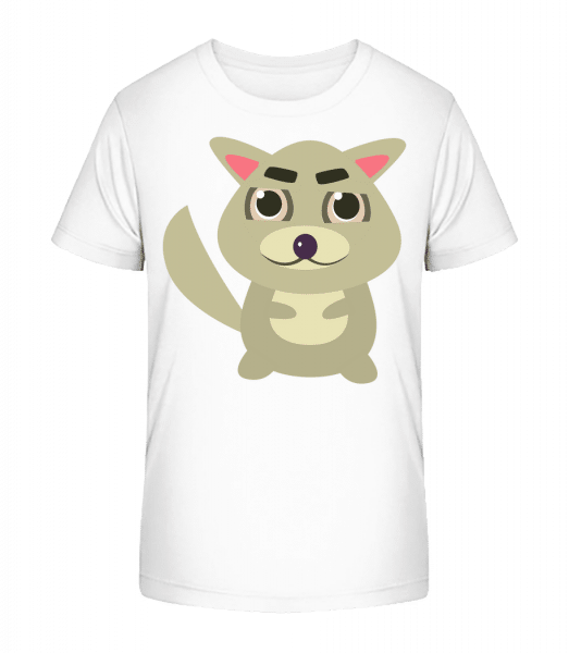 Waschbär Comic - Kinder Premium Bio T-Shirt - Weiß - Vorn